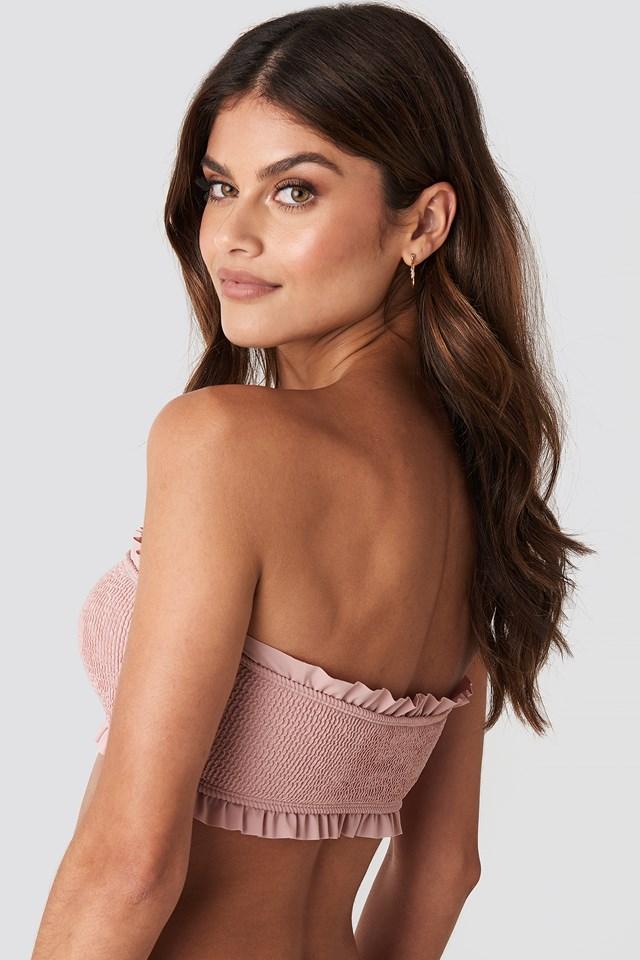 Frilled Smocked Bikini Top Pink