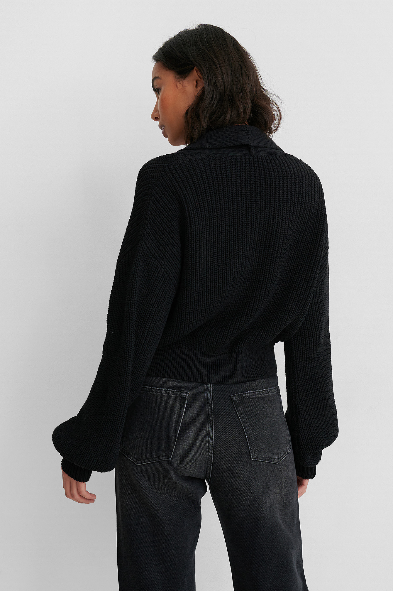 Black Recycled Front Button Sweater