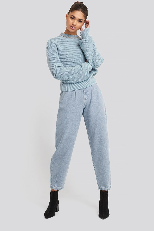 Front Dart Slouchy Jeans Light Blue Wash
