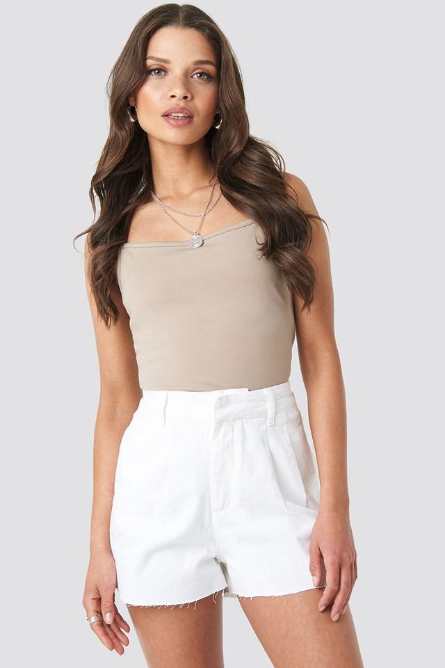 Front Pleat Denim Shorts White