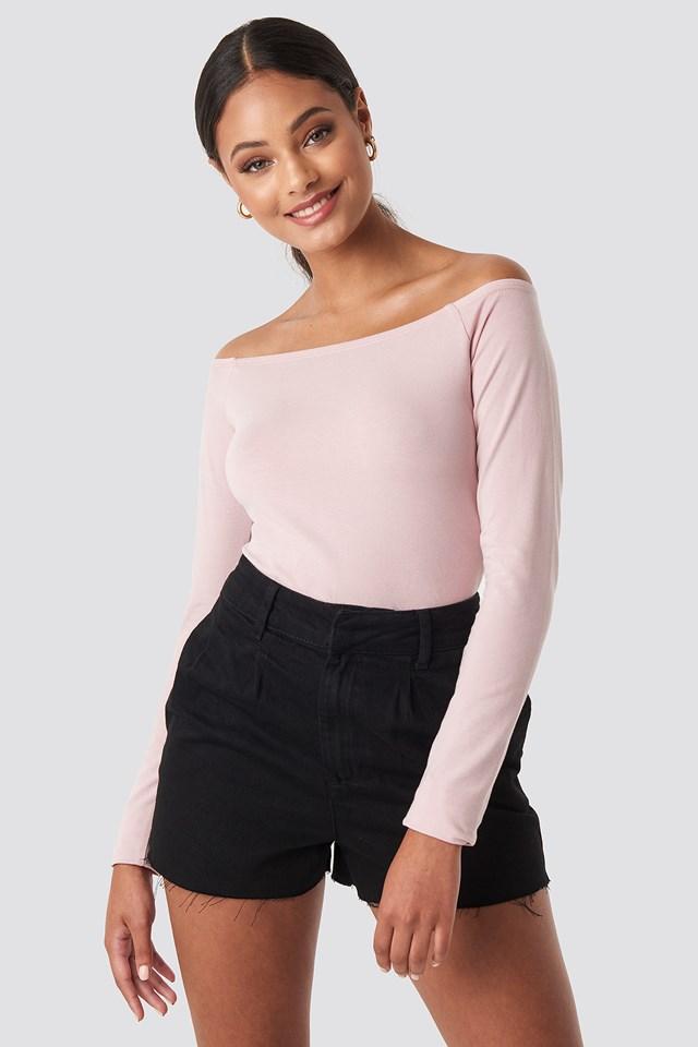 Front Pleat Denim Shorts Black