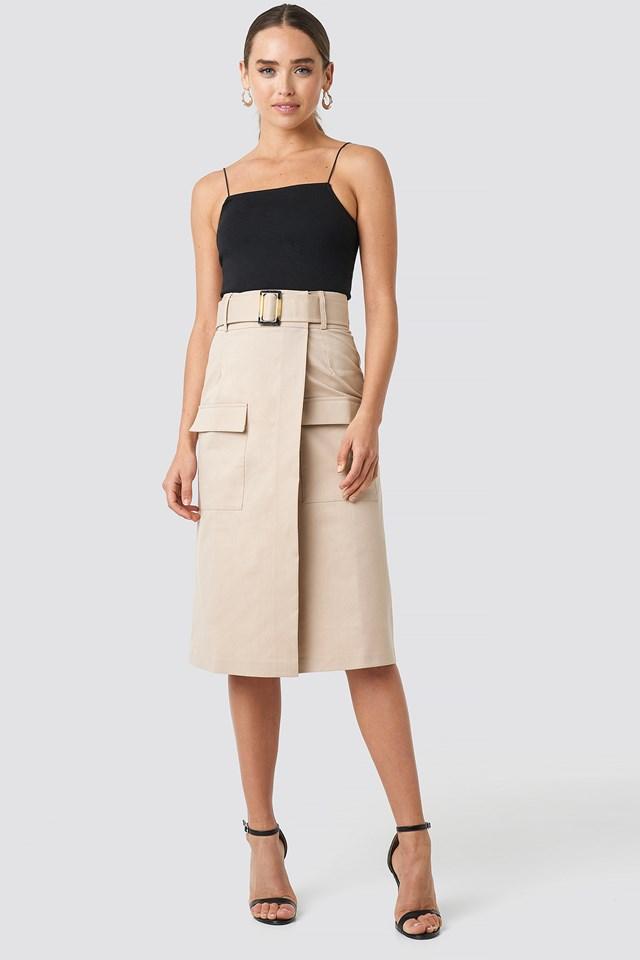 Front Pocket Belted Skirt Beige