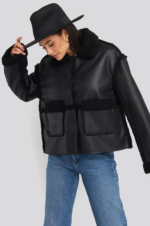 Front Pocket Teddy Jacket NA-KD Trend