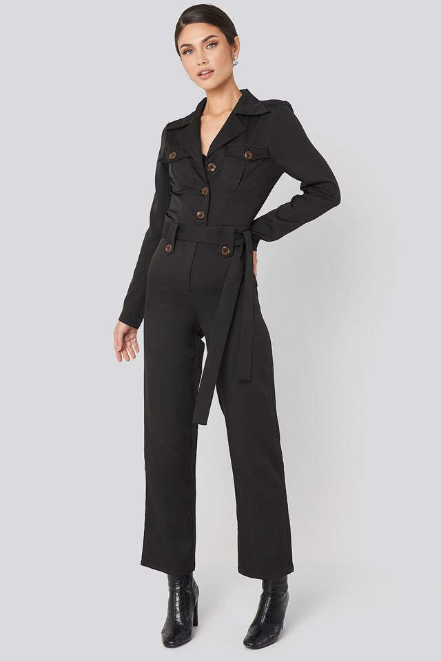 Front Pocket Tied Waist Jumpsuit Black