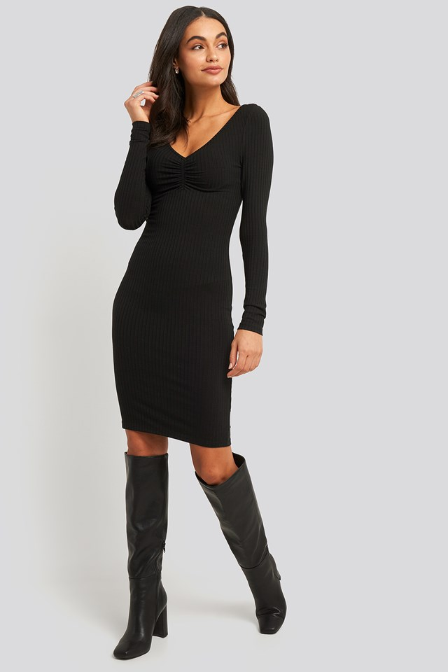 Front Ruched Ribbed Dress NA-KD