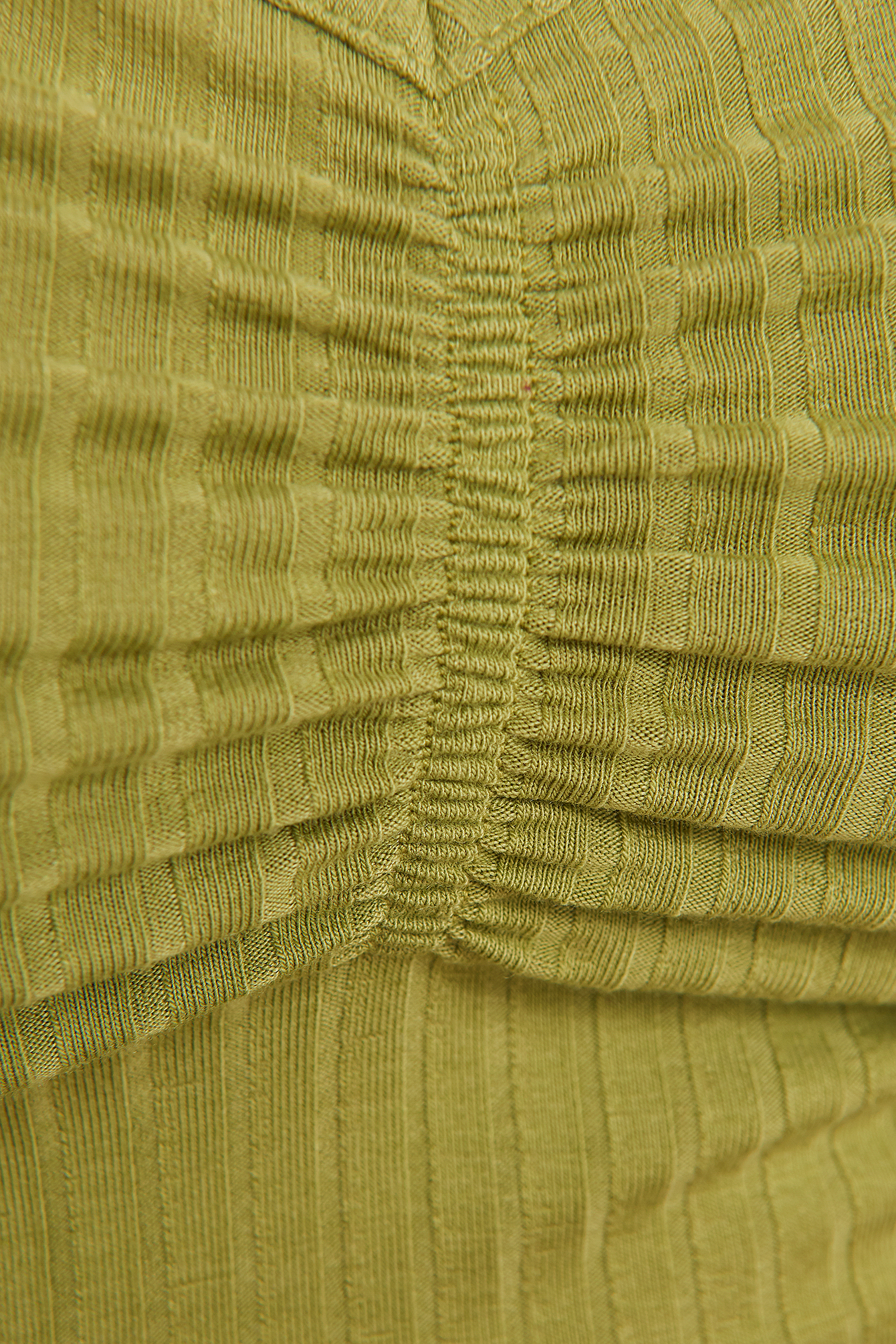 Olive Green Front Ruched Ribbed Top