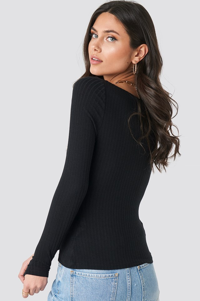 Front Ruched Ribbed Top Black