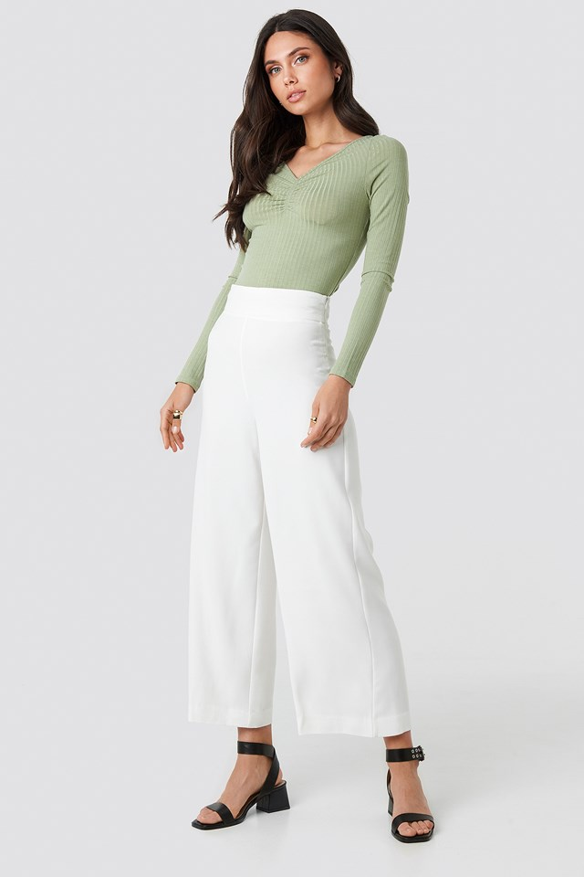 Front Ruched Ribbed Top Light Khaki