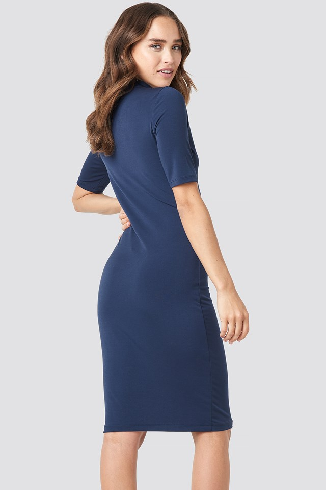 Front Ruching Dress Navy