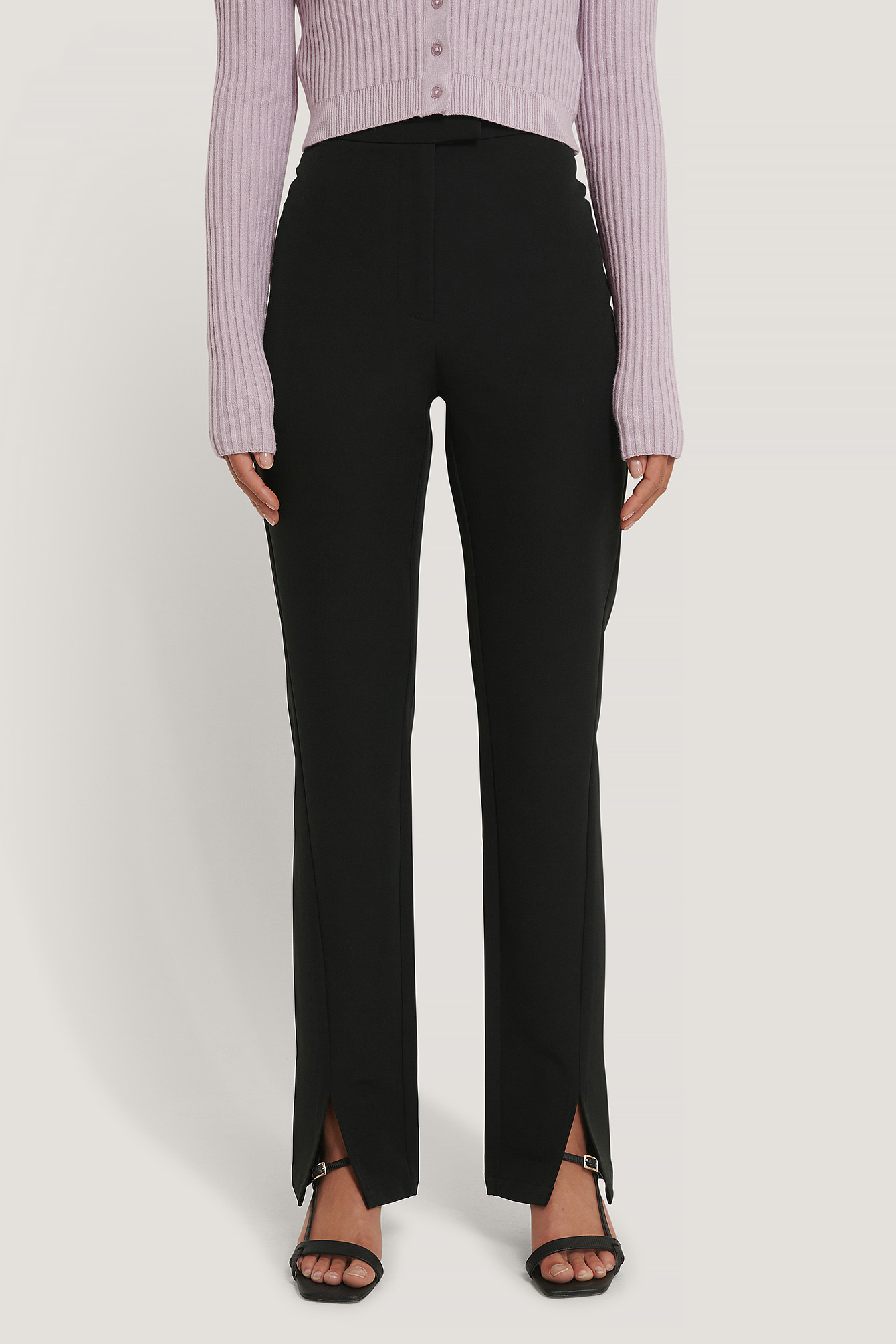 Black Front Slit Suit Pants