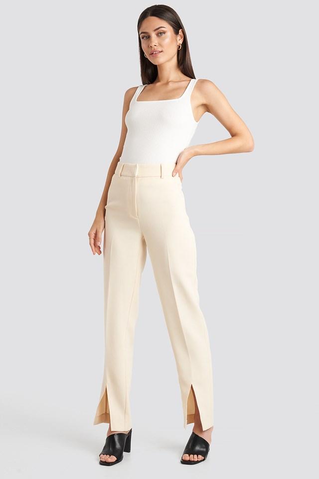 Front Slit Suit Trousers Cream