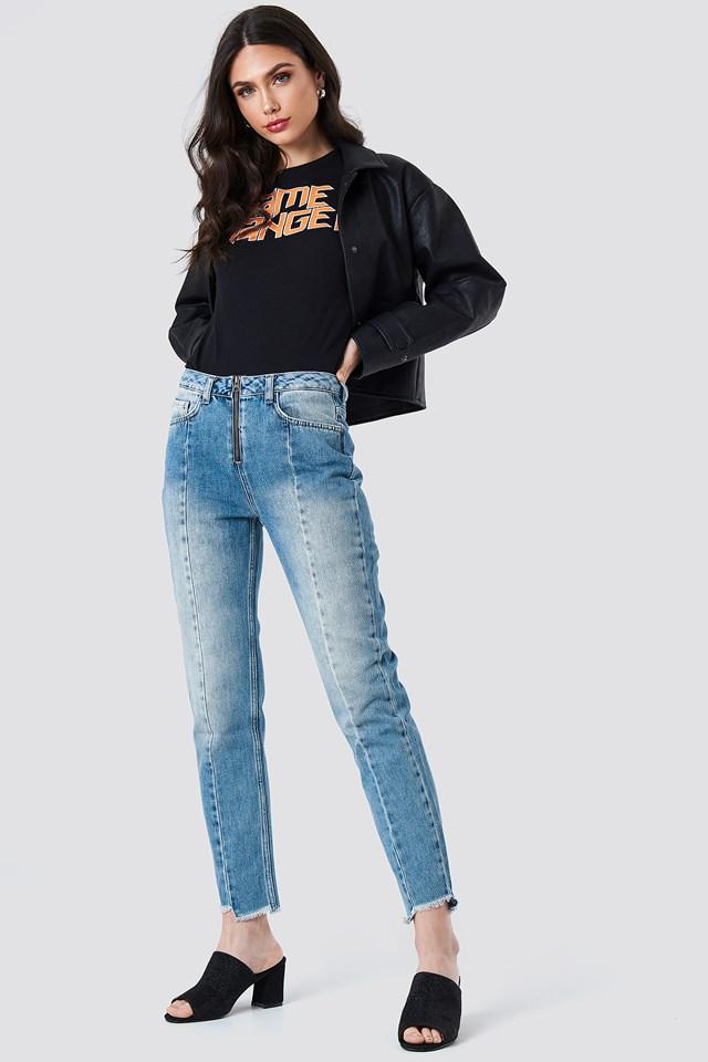 Front Zipper Panel Jeans Mid Blue