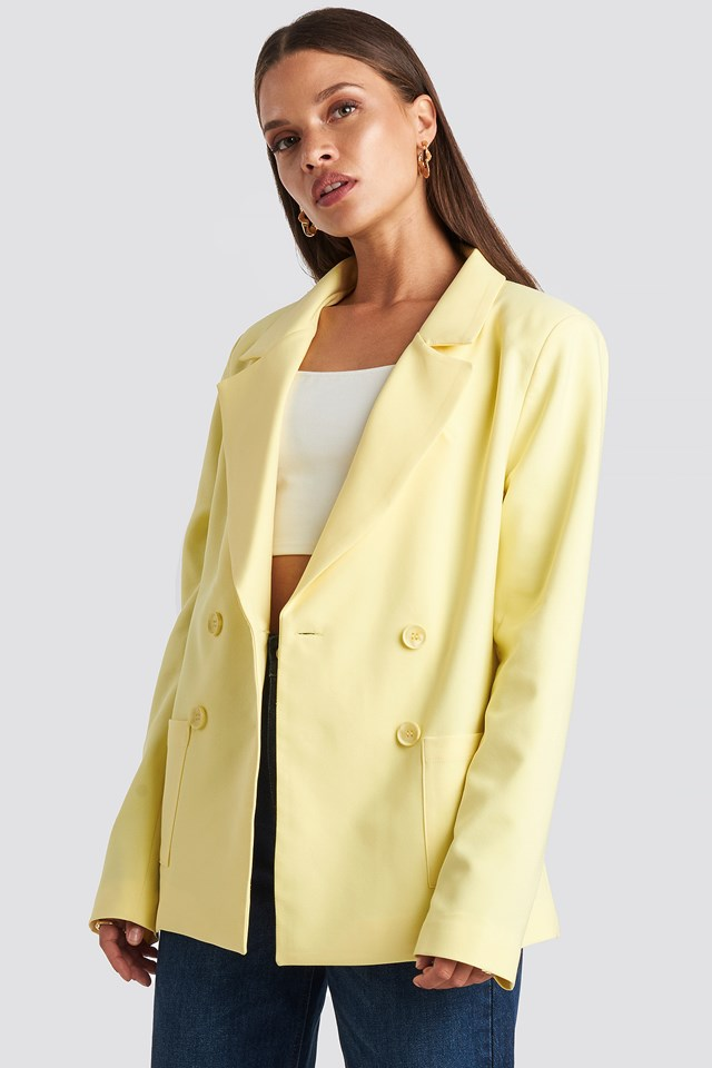 Front Pocket Oversized Blazer Yellow
