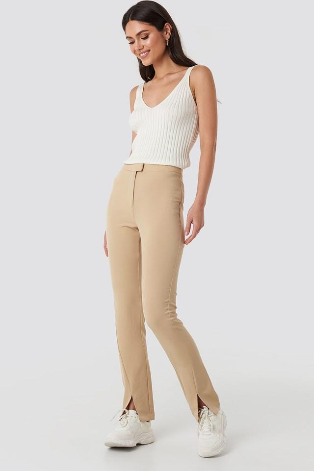 Front Slit Suit Pants Beige