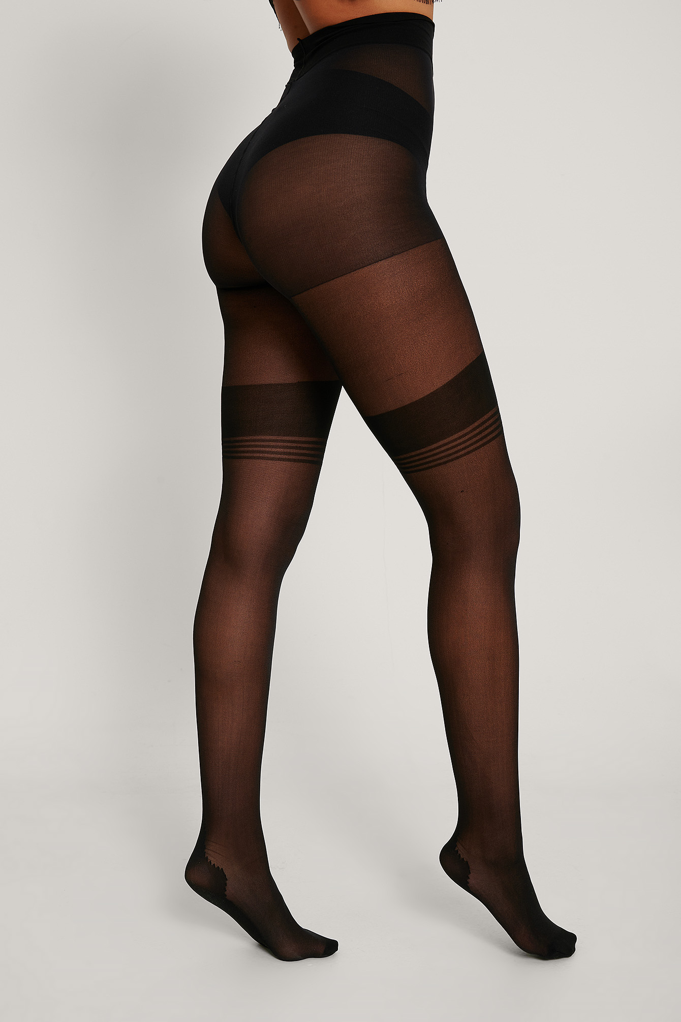 Black Full Length Detail Tights 25 DEN