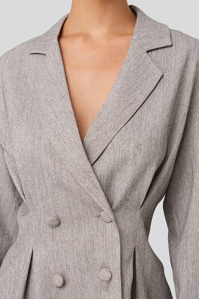 Gathered Double Breasted Blazer Grey Melange