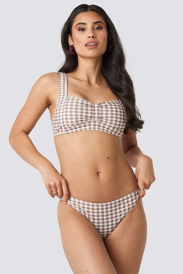 Gathered Front Bikini Top Brown Check