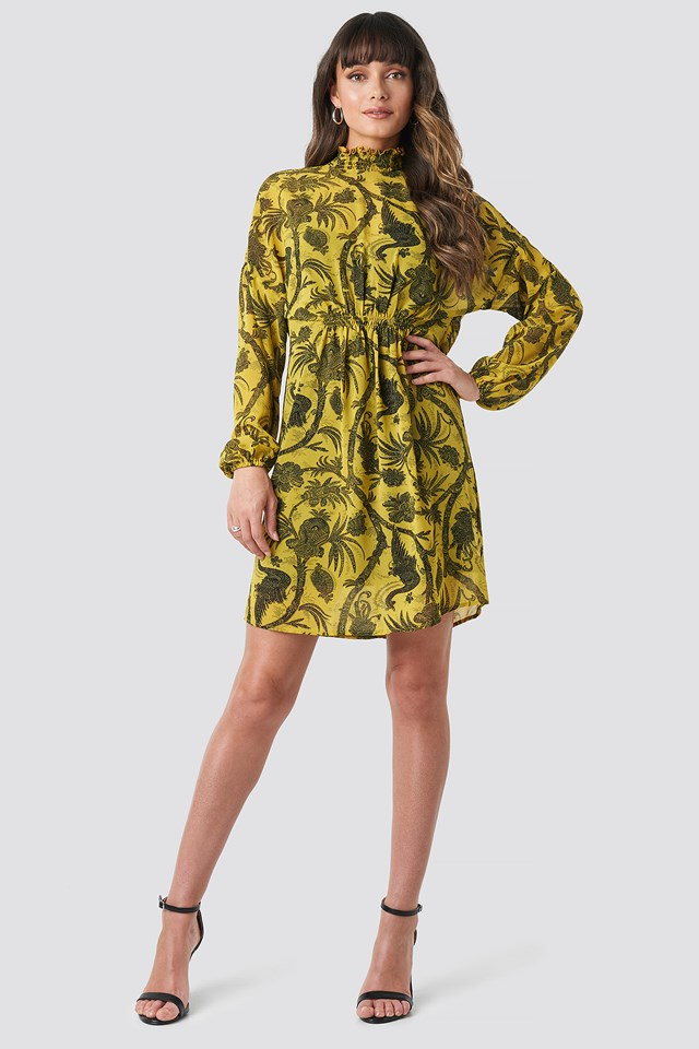 Gathered Front Print Dress Yellow