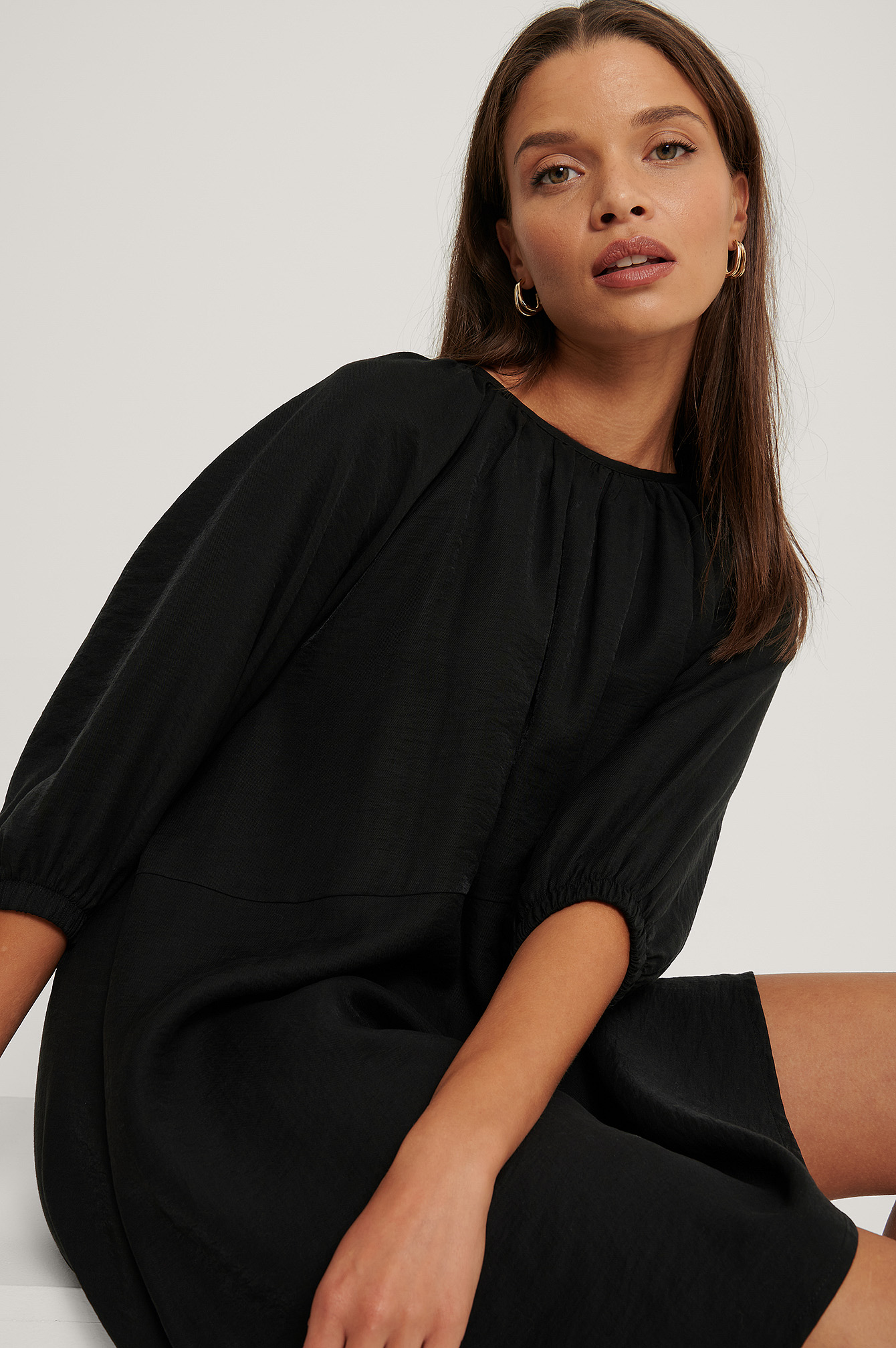 Black Organic Gathered Round Neck Mini Dress