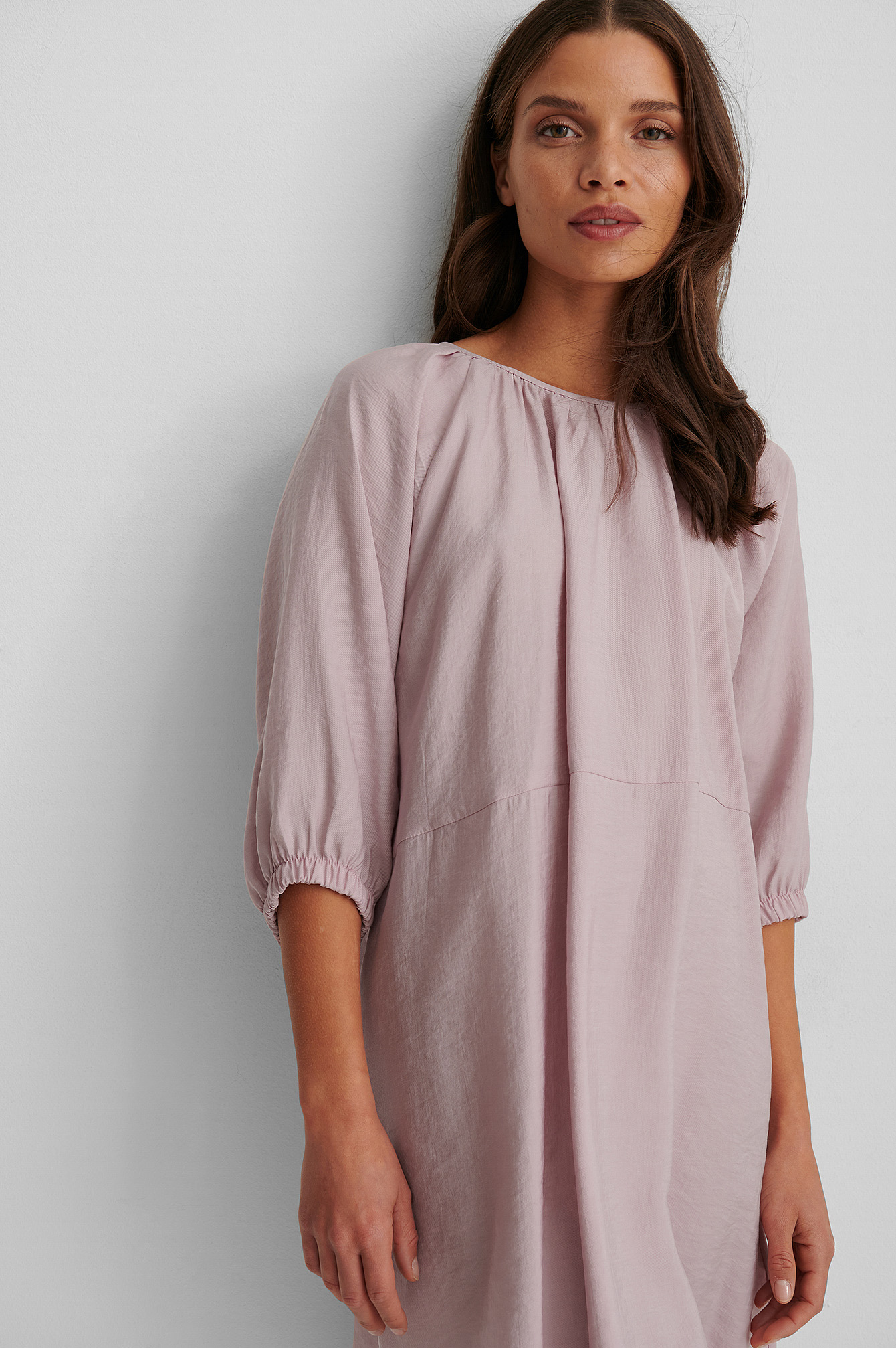 Mauve Organic Gathered Round Neck Mini Dress