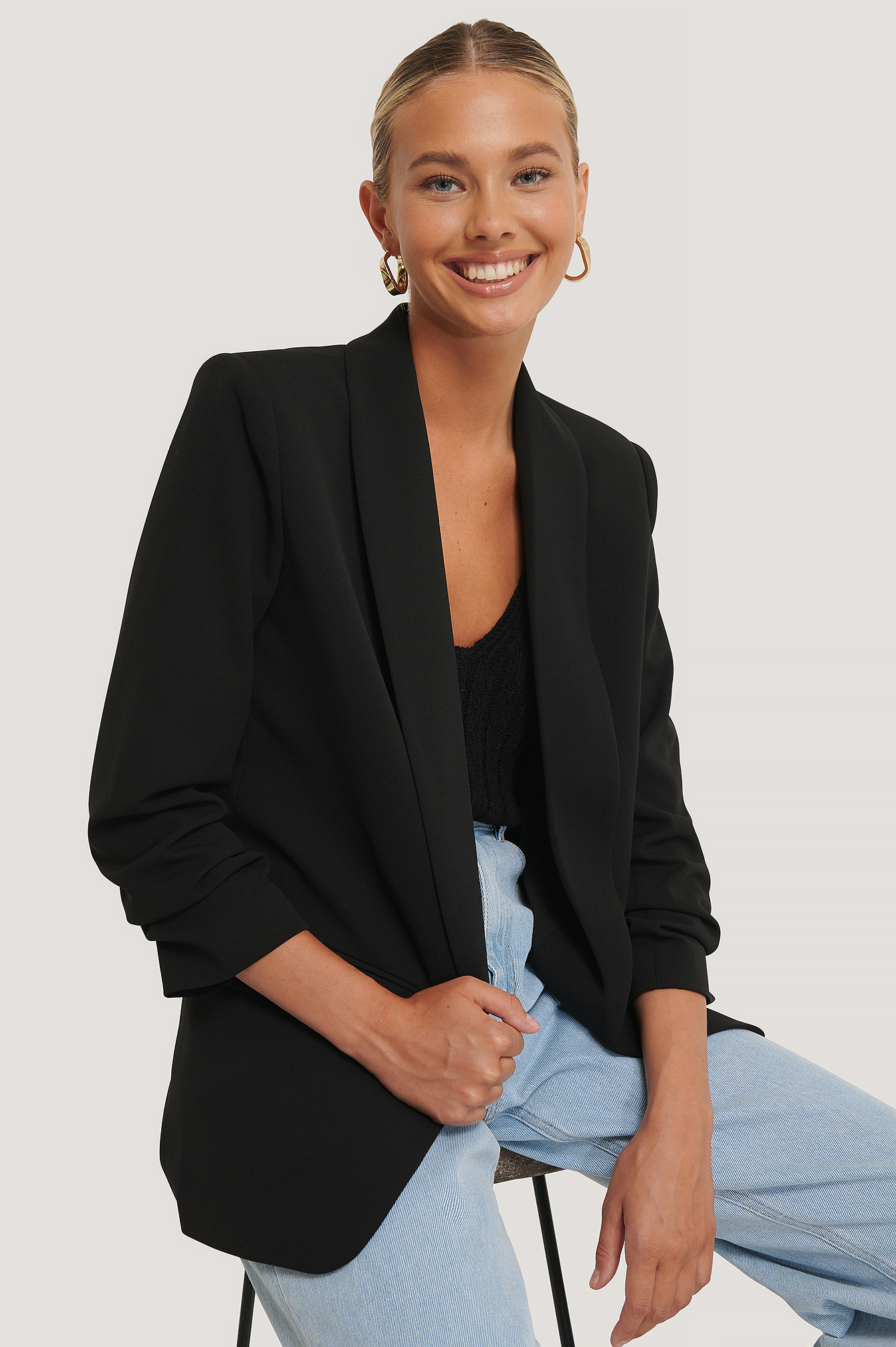 Black Gathered Sleeve Blazer