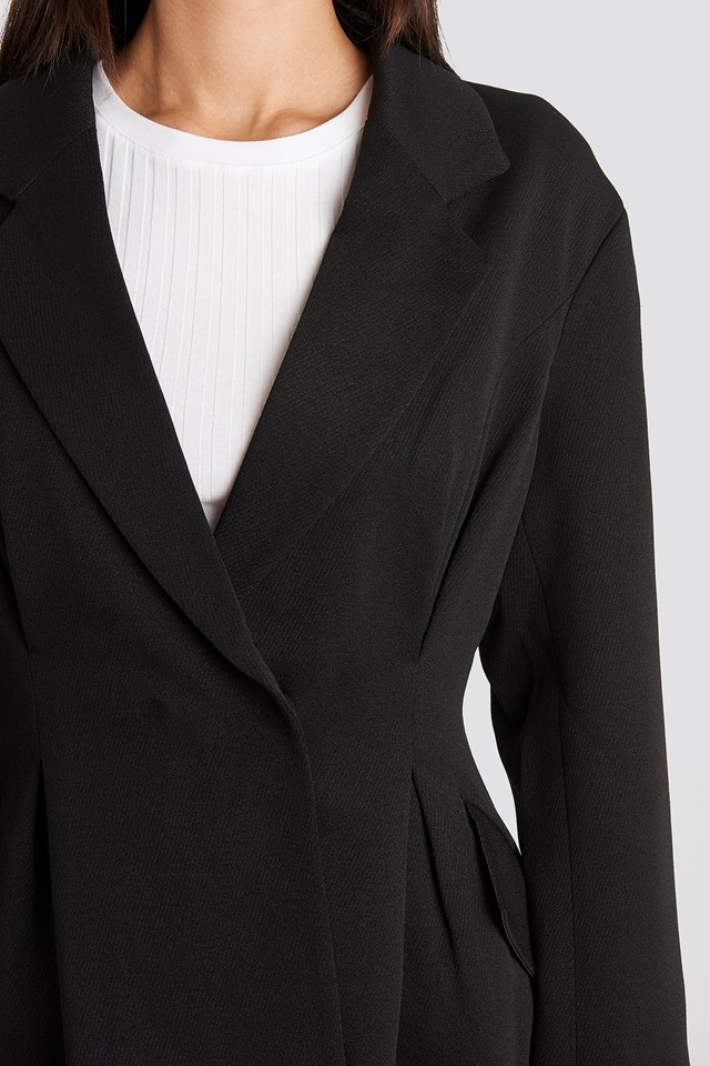 Gathered Waist Blazer Black