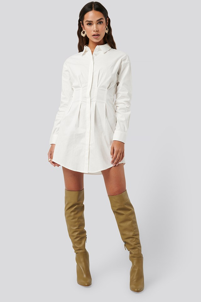 Gathered Waist Mini Shirt Dress White