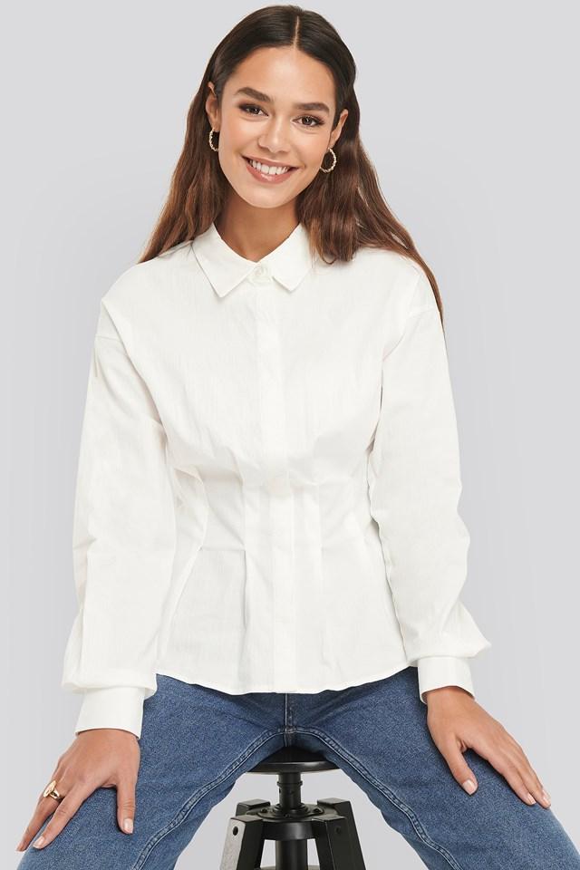 Gathered Waist Shirt White