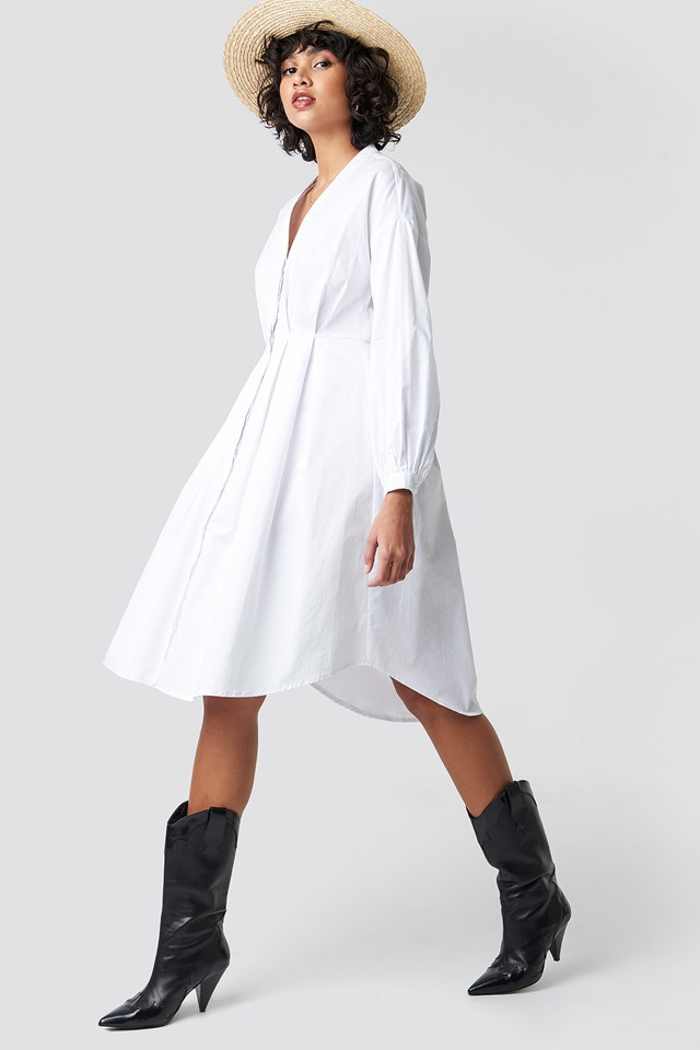 Gathered Waist Shirt Dress White