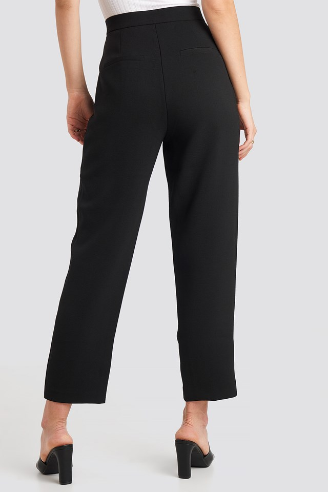 Gathered Waist Suit Pants Black