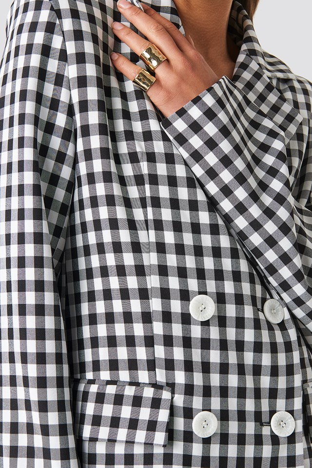 Gingham Double Breasted Blazer Black/White Check