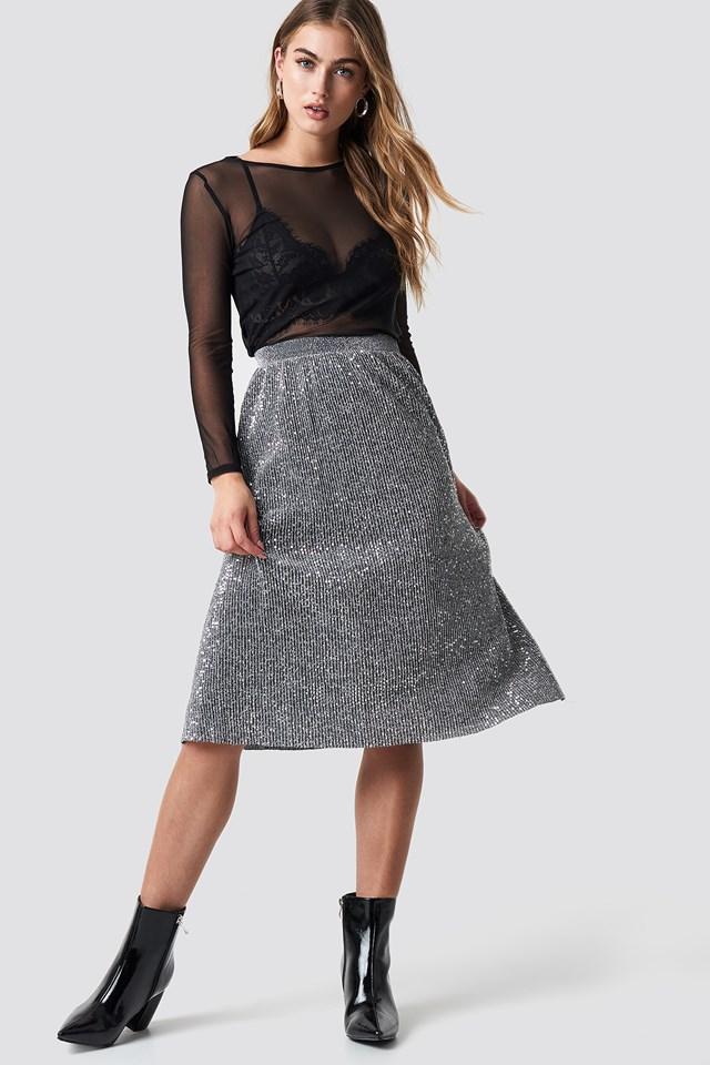 Glitter Midi Skirt Silver