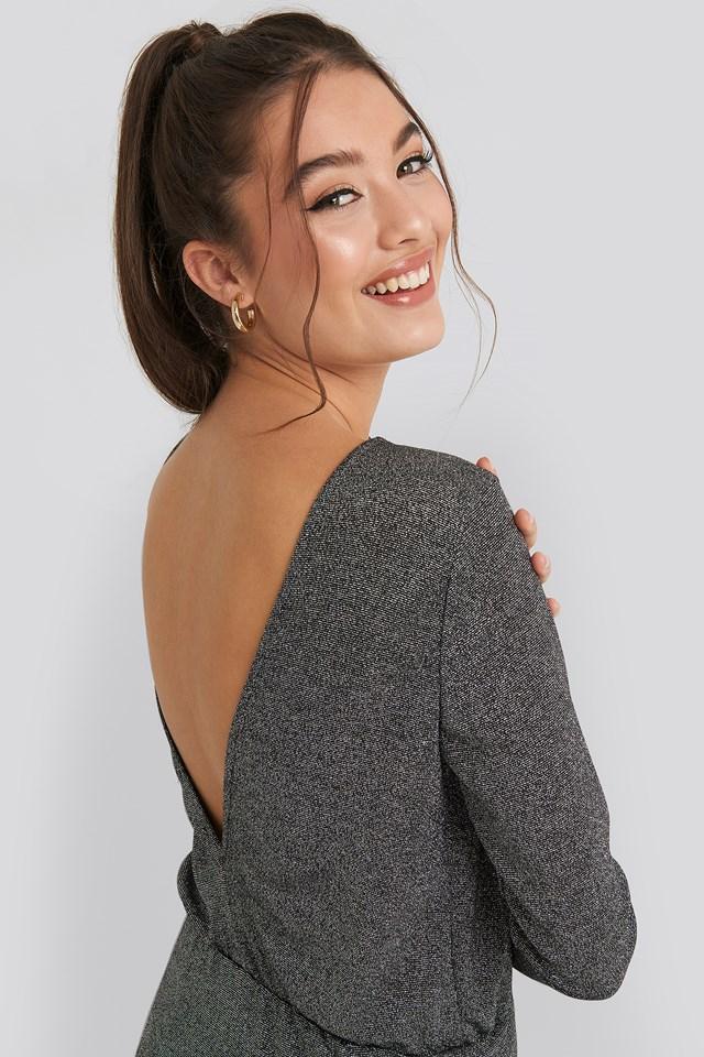 Glittery Open Back Mini Dress Silver