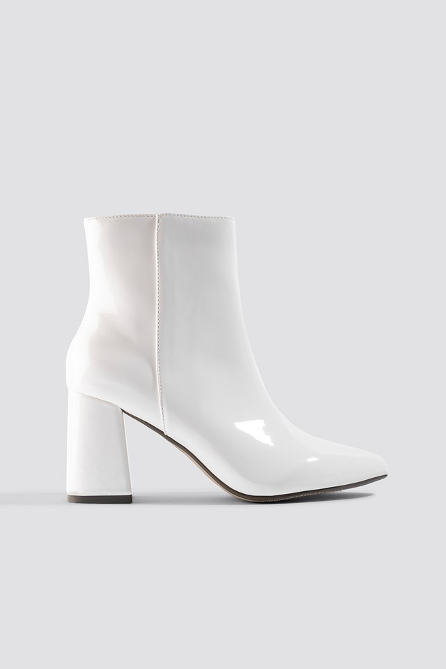 Glossy Patent Boots White