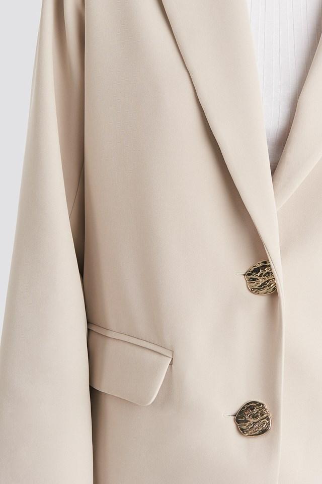 Gold Button Oversized Blazer Offwhite