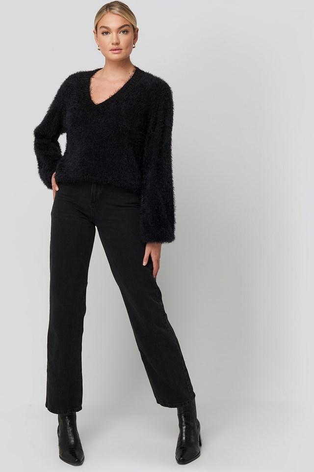 Hairy Deep V-neck Sweater Black