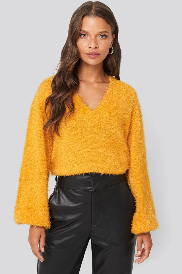 Hairy Deep V-neck Sweater Yellow