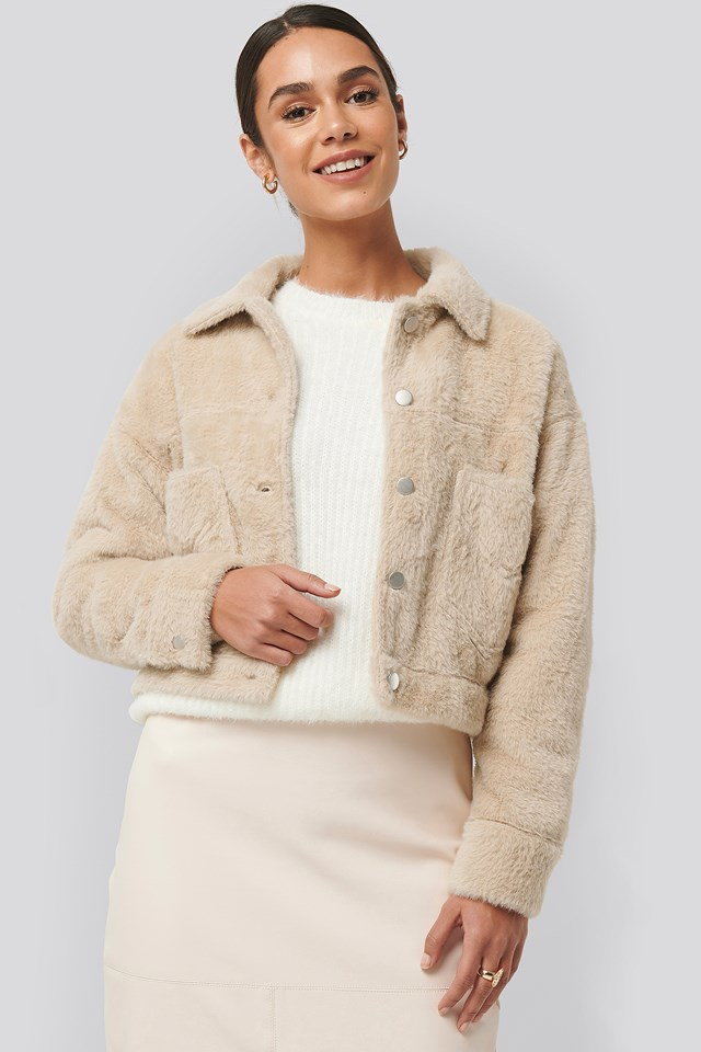 Hairy Faux Fur Jacket Offwhite