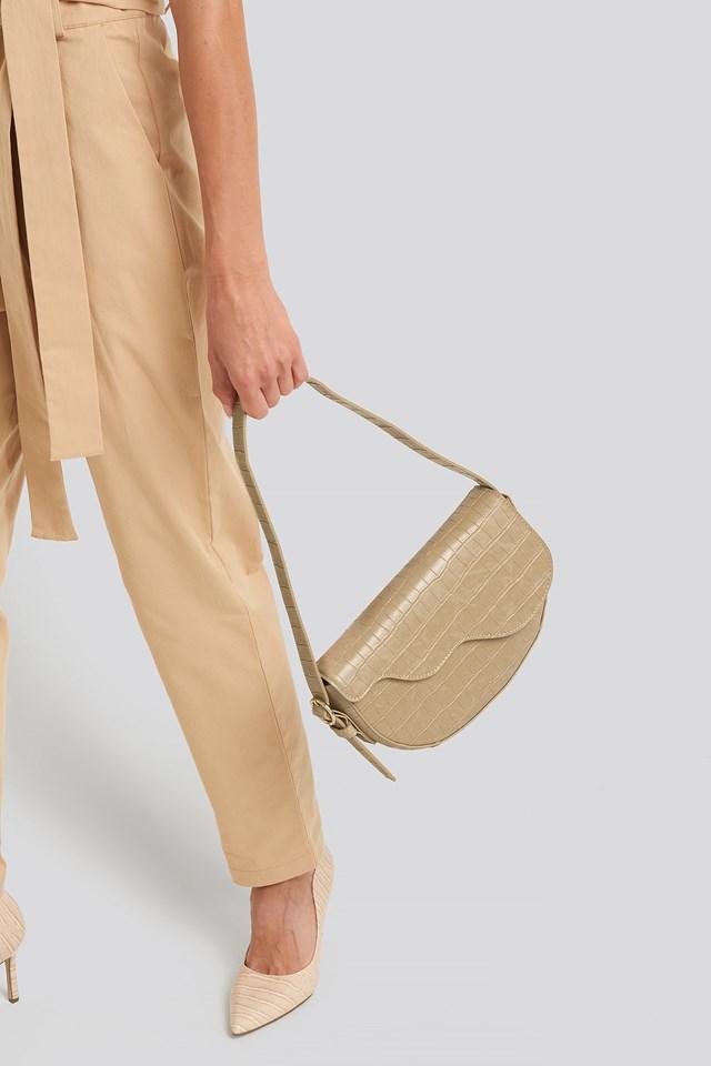 Half Moon Saddle Flap Shoulder Bag Nude Croco
