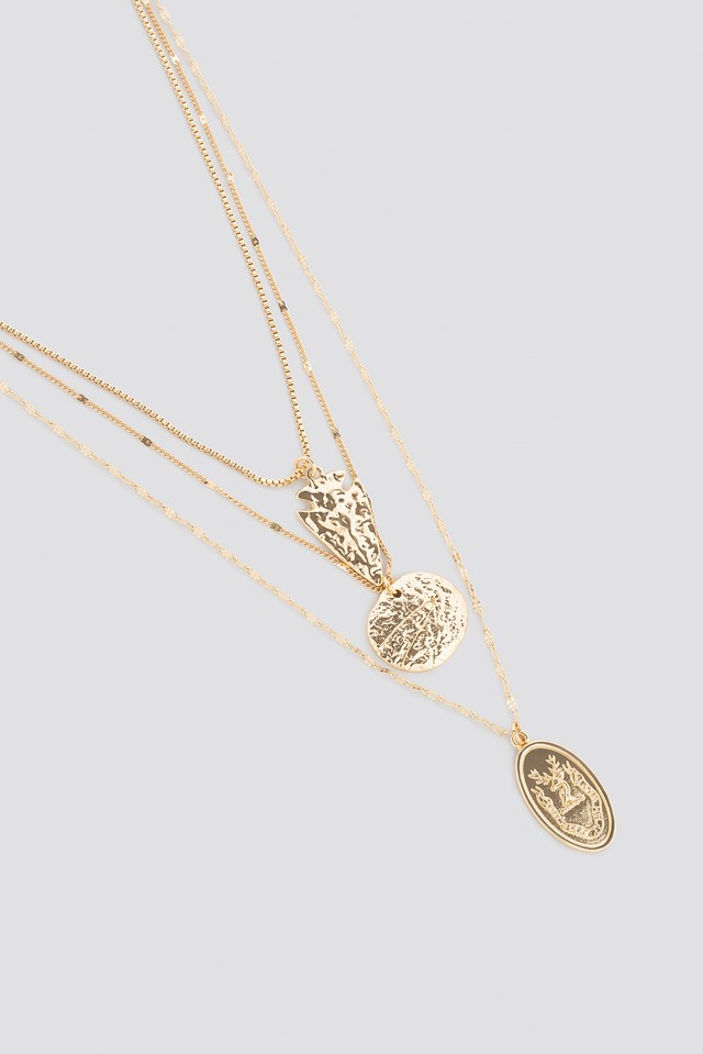 Hammered Coin Layered Necklace Gold