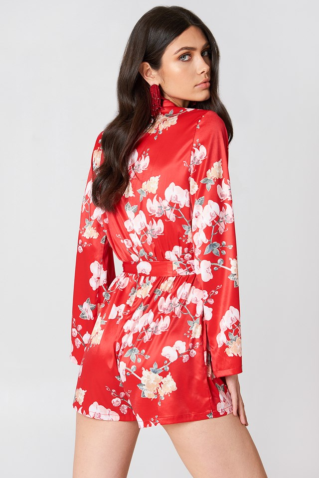 Deep V-neck Satin Playsuit Red Orchid Print