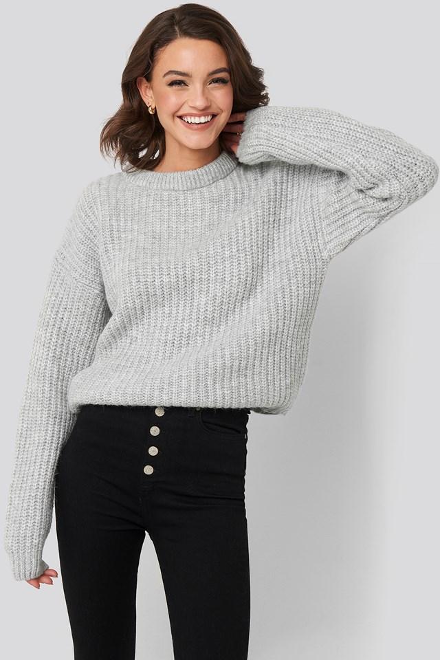 Heavy Knit Round Neck Sweater Light Grey