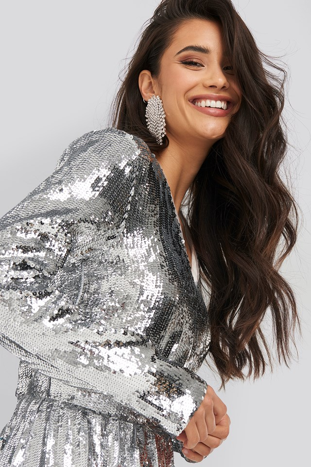 Heavy Long Sleeve Sequin Dress Silver