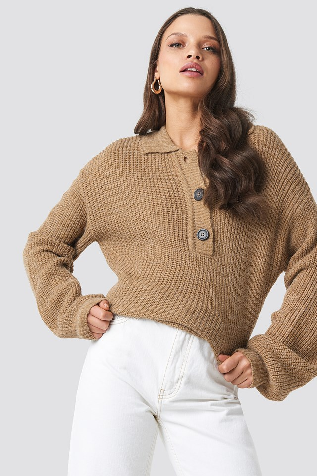 Henley Knitted Sweater NA-KD Trend