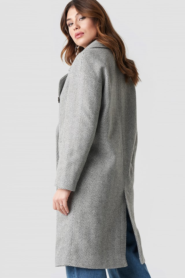 Herringbone Double Breasted Coat Grey Pattern