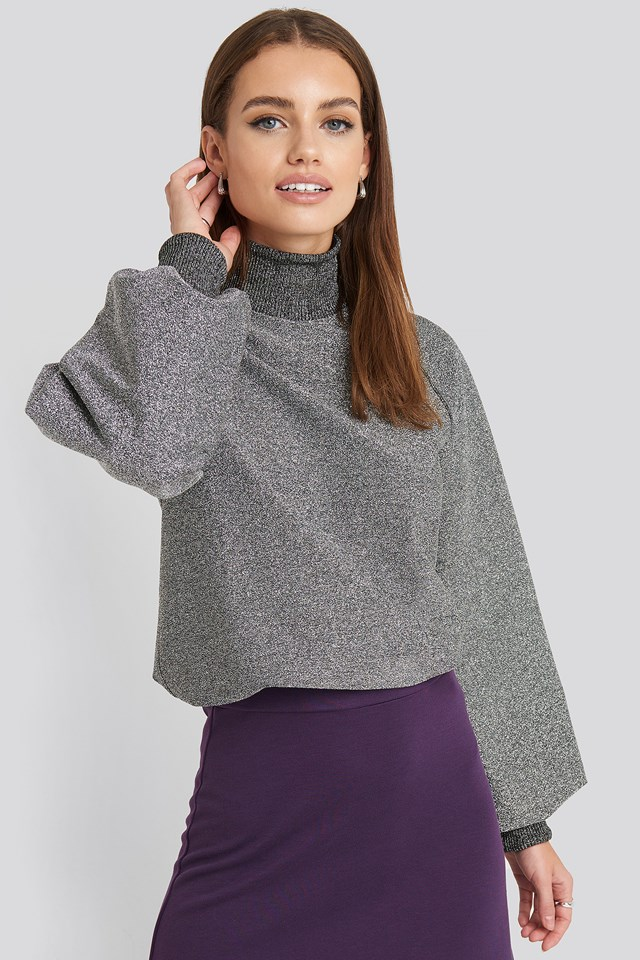 High Neck Balloon Sleeve Sweater NA-KD Party