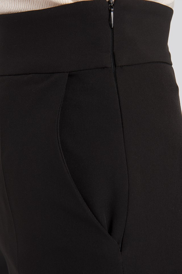 High Waist Cropped Suit Pants Black