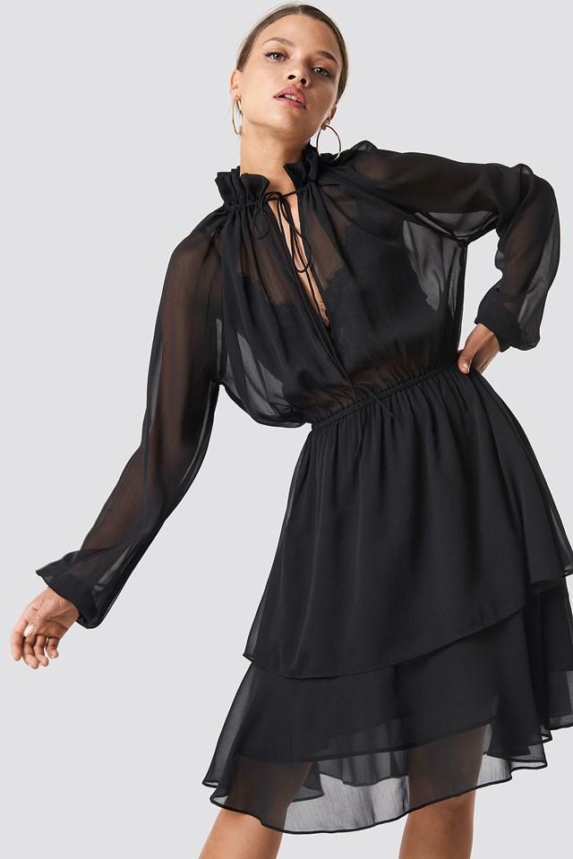 High Frill Neck Dress Black