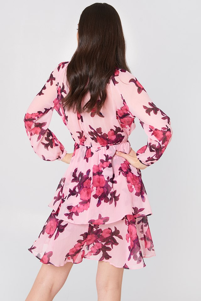 High Frill Neck Dress Print