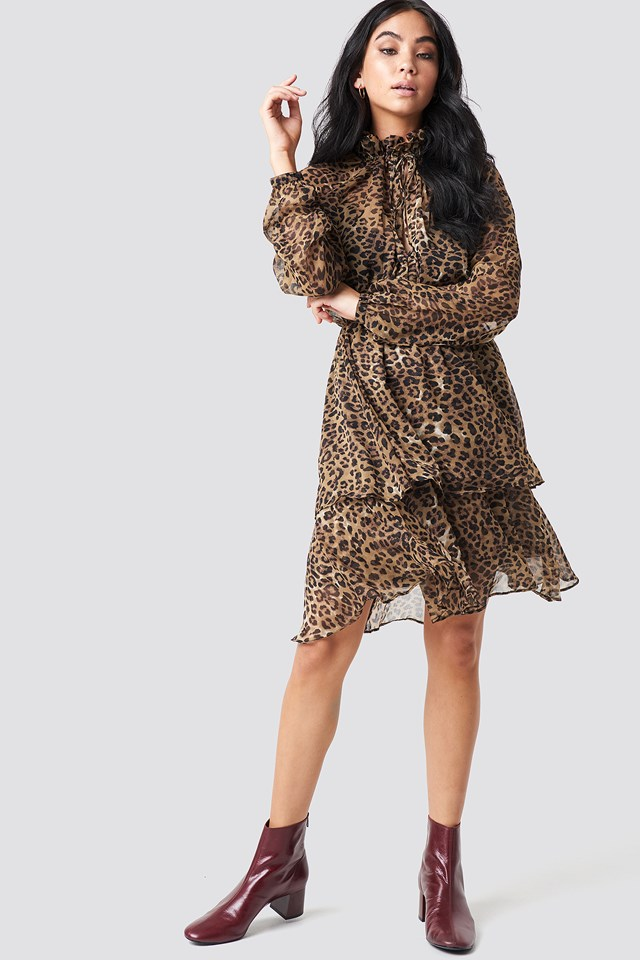 High Frill Neck Dress Leoprint